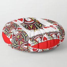 RED QUEEN OF HEARTS PLAYING CARDS ARTWORK Floor Pillow
