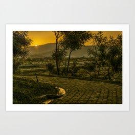 Tropical Landscape Sunset Scene Art Print