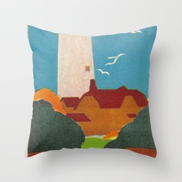 Evanston Lighthouse Vintage Travel Poster Throw Pillow