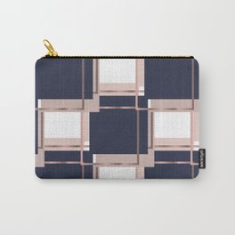 Elegant Blue Square Geometric Patterns Carry-All Pouch