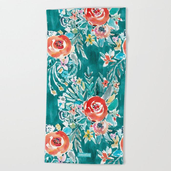 IN FLOW FLORAL Orange Watercolor Rose Beach Towel