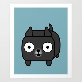 Pitbull Loaf - Black Pit Bull with Cropped Ears Art Print