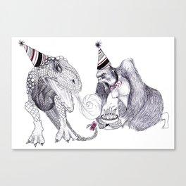 King Kong Loves T-rex Canvas Print