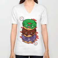 donut V-neck T-shirts featuring Donut by jeff'walker
