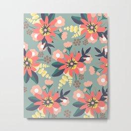 Coral and Seafoam Floral Print Metal Print