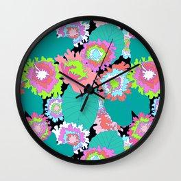 Amazon Rainforest Floral in Black + Neon Wall Clock