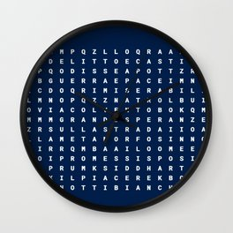 Letters on blue background Wall Clock