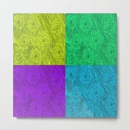 Color Blocked Roses Metal Print