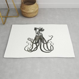 Octodiver on white background vintage collage image Rug