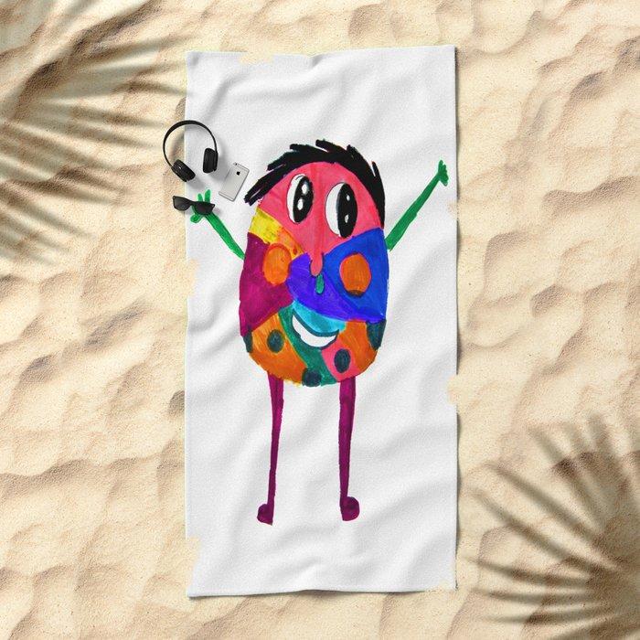 DooDoo Boy   Kids Painting by Elisavet Beach Towel