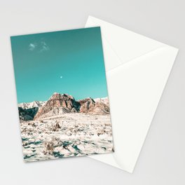 Vintage Picture Desert Snow // Winter Teal Blue Sky Red Rock Canyon Wilderness Park Photograph Stationery Cards