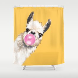 Bubble Gum Sneaky Llama in Yellow Shower Curtain