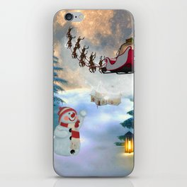Christmas, snowman with Santa Claus iPhone Skin