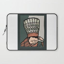 Central Asian Woman Thinking (in hat) Laptop Sleeve