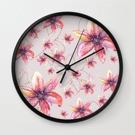 Lirio Oriental Watercolor Art Wall Clock