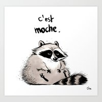racoon Art Prints featuring Racoon by chacomics