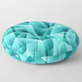 Light overlapping sheets of light blue paper triangles. Floor Pillow