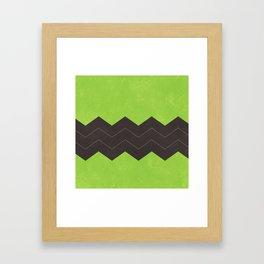 Lime Green and Dark Grey Chevron Framed Art Print