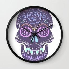 Day of the Dead Pastel Skull (Dia de los Muertos) Wall Clock