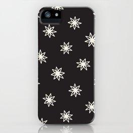 Minimalist Modern Abstract Black & White Pattern Anise Flower iPhone Case