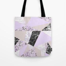 Geometrical black white lavender abstract marble Tote Bag