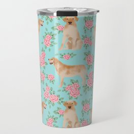 Yellow Labrador Retriever dog breed pet portraits floral dog pattern gifts for dog lover Travel Mug