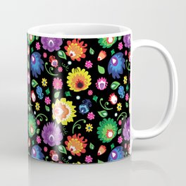 Folk - garden on black background Coffee Mug