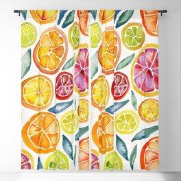 Sliced Citrus Watercolor Blackout Curtain