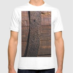 Old wood and rusty metal of a barrel White MEDIUM Mens Fitted Tee