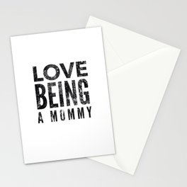 Love Being a Mommy in Black Watercolor Stationery Cards