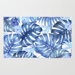 Blue tropical pattern  (monstera leaves and bird of paradise flowers Rug