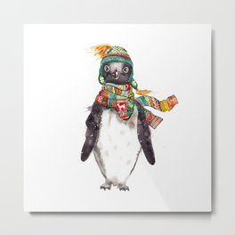 Penguin in a scarf (male) Metal Print