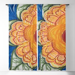 Bold Yellow Flower Drawing Blackout Curtain