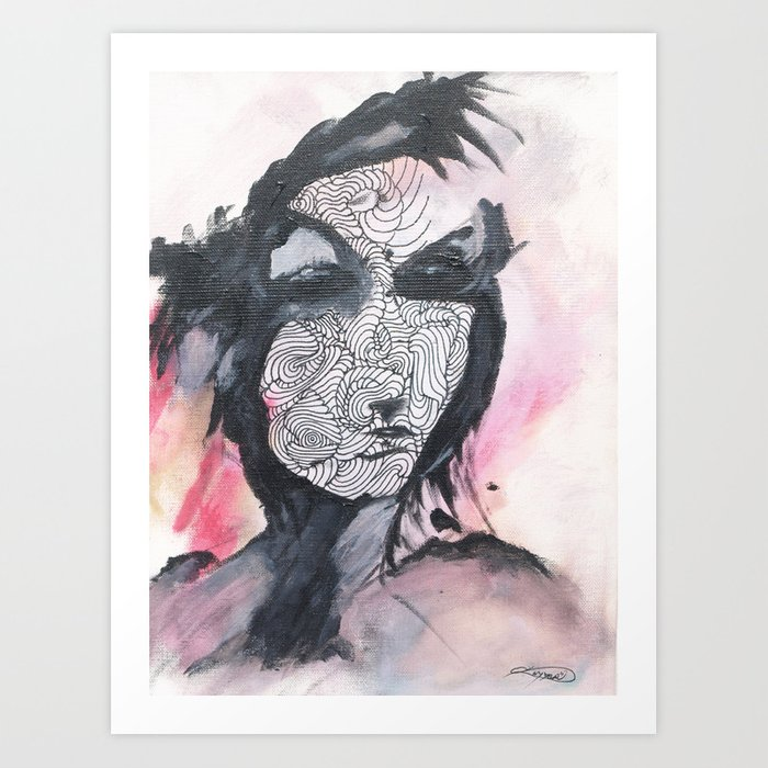 abstract face original acrylic painting on canvas Art Print by ...