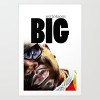 notorious big Art Prints featuring Notorious BIG by Jamaal lamaaj studio.