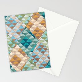 Triangle Patter No.15 Shifting Teal and Yellow Stationery Cards
