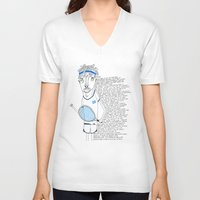 tennis V-neck T-shirts featuring Tennis by Andrea Forgacs