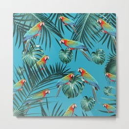 Parrots in the Tropical Jungle #2 #tropical #decor #art #society6 Metal Print