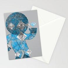 mesmerized by the light blue diamond Stationery Cards