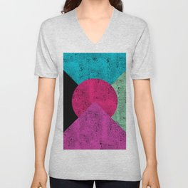 Colorful Abstract Geometric Background Unisex V-Neck