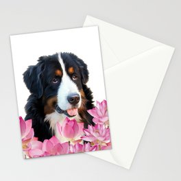 Bernese Mountain Dog between Lotus Flowers #dog #society6 Stationery Cards