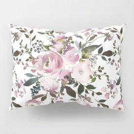 Blush rose pink green watercolor elegant floral Pillow Sham