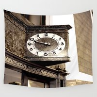 wall clock Wall Tapestries featuring Clock by Yancey Wells