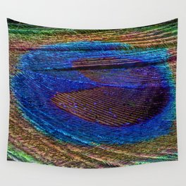 Peacock feather close up Wall Tapestry