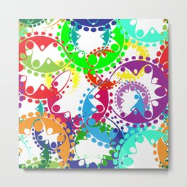 Texture of bright colorful gears and laurel wreaths in kaleidoscopic style. Metal Print