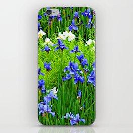 BLUE & WHITE  IRIS FLOWER GARDEN iPhone Skin