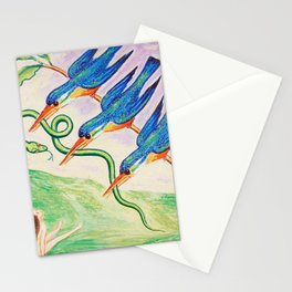 Angry Birds! - The Abducted Snake surrealism portrait painting by Nils Dardel Stationery Cards