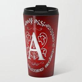 Joshua 24:15 - (Silver on Red) Monogram A Travel Mug