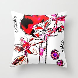 'flower ornaments brittmarks' Throw Pillow