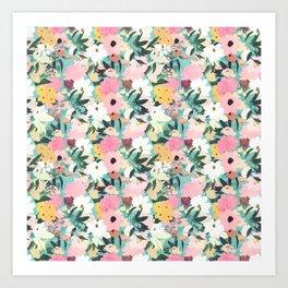 Pretty Watercolor Pink & White Floral Green Design Art Print